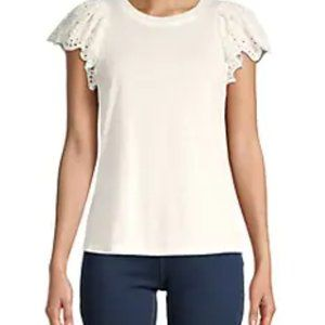Rebecca Taylor T-Shirt with Eyelet Sleeve